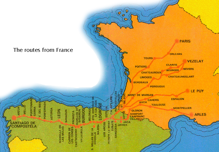 Camino De Santiago Route Map From France - Limoges france map