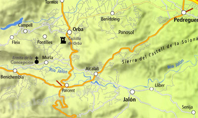Jalon Valley, Valencia Map