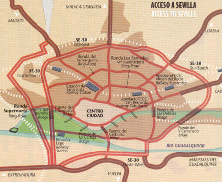 How to get into Seville Spain Map of Seville