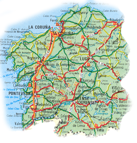 Map of Galicia in details.